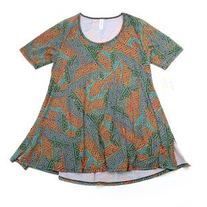 LuLaRoe Perfect T Short Sleeve Top Green Geo NWT!